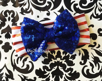 Forth Of July Headband, red white Blue,  Headband, Girl Headband, Infant,  knit Headband, Blue Sequins bow, sparkling bow , stripe headband