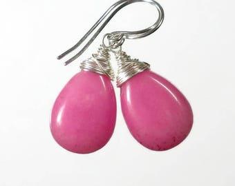 Pink Drop Earring Pink Jade Earring Pink Wire Wrapped Earring Pink Earring