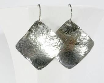 On Sale: Hammered Silver Earrings Hammered Sterling Silver Earrings Sterling Silver Square Earrings