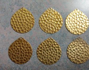 Vintage Pendants- Hammered Brass- Vintage Stock-  Set of 6- Patina