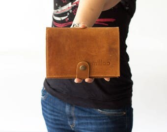 Brown large leather wallet ,phone wallet,bifold womens wallet,large leather phone wallet,phone clutch wallet - Iole Wallet