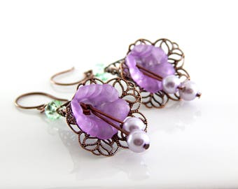 Purple Lucite Flower Earrings ~ Copper Lace Earrings ~ AdoniaJewelry