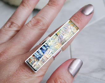 multicoloured glass statement ring, large dichroic glass ring, rectangle glass cocktail ring, avant garde costume jewelry, gift for her