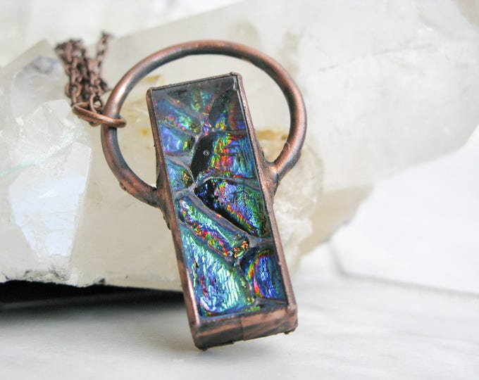 Rainbow Fused Glass Pendant Electroformed Copper Necklace Goddess necklace gothic Jewelry Large Glass Pendant Statement necklace OOAK