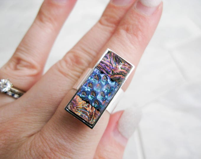 multicoloured glass, statement ring, costume jewelry, avant garde, gift for her, rectangle glass cocktail ring, large dichroic glass ring