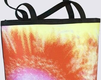 BUCKET BAG - Medium FLORAL Tote - Abstract Photography - Women's handbag - Purse - Art Bag. Shown in Burnt Orange Splash image design.