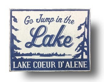 Lake Coeur D' Alen- cool rustic wooden sign 10x13- Coeur d'Alene, Idaho