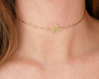 Gold Choker Necklace with White Topaz Pendant | Choker Necklace | Gold Choker | Dainty Choker