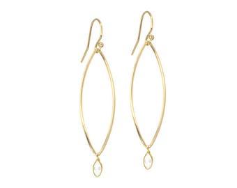 Marquise Drop Wedding Earrings | Dainty Wedding Earrings | Bridal Jewelry | Marquise Drop Earrings | Gold or Sterling Silver