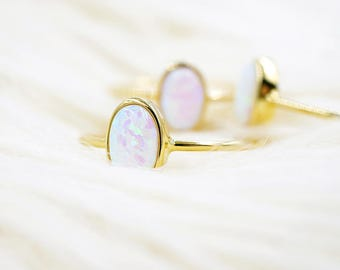 Opal Ring | Thin Gold Ring with Opal | Opal  Solitaire Ring | Delicate Gold Ring