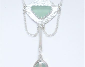 Sea Glass Jewelry - Sterling Double Seafoam Sea Glass Necklace