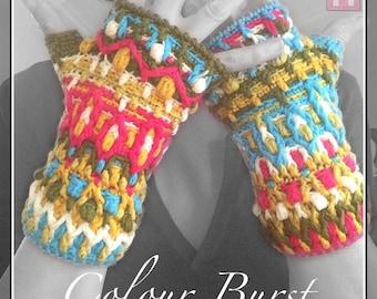 Fingerless Winter Gloves - Colour Burst - colourful overlay crochet handwarming gloves