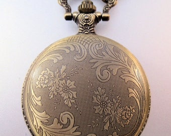 """SHIPS 6/26 w/FREE Jewelry Christmas Gift Pocket Watch with 31"""" Chain Necklace Or 14"""" Belt Chain Vintage Style"""