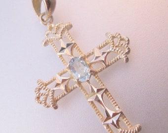 SHIPS 6/26 w/FREE Jewelry Ornate Cross Blue Topaz Sterling Silver Pendant Vintage Jewelry Jewellery