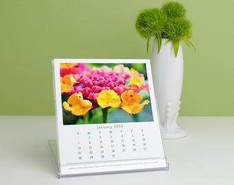 2018 Calendar, Garden Flowers Photography 2018 Desk Calendar with cd case easel, floral art nature photo monthly calender, office decor