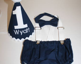 navy blue and white baby boys first birthday outfit, boys cake smash outfit, 1st birthday hat, bow tie, diaper cover bloomers, suspenders