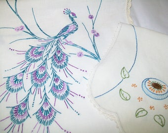 Vintage Hand Embroidered Peacock Dresser Scarf, with Free dresser scarf