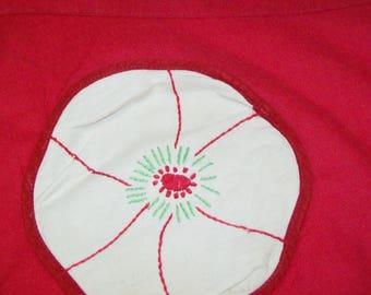 Vintage Red Apron, Flower Pockets, handmade, floral, 1960s, 1950s