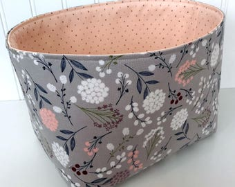 Organizer Storage Bin,Basket,Bin,Nursery Decor,Diaper Storage,Fabric Bin,Fabric Basket,Home Decor,Flowers,Gray,Blush Pink,Blush,Grey