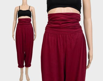Vintage 80s Burgundy Pants | Cotton Harem Pants | Cummerbund ULTRA High Waisted Red Trousers | Casual Jogger Pants | Tapered Legs | M L