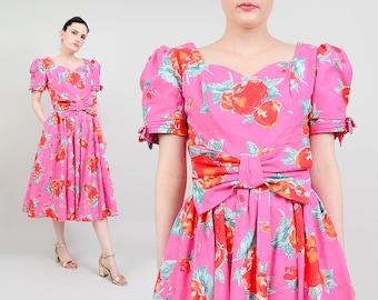 Laura Ashley 80s Pink Floral Dress | Puff Sleeve Garden Party Cotton Sundress Dolly Lolita Dress 1980s Midi Sundress with Bow - Medium M 10