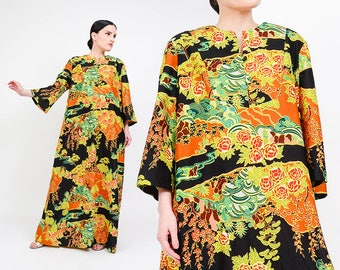 60s Hawaiian Maxi Dress | Psychedelic Dress | Novelty Print Trees + Floral Caftan Dress | Hawaii Mod Dress | 1960s Kimono Dress | size M L