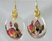 Custom Order for Tiffany, Roses,  Real Flower Earrings,   Pressed Flower Jewelry, Resin (3103)