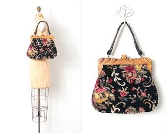 vintage 1960s purse | 50s needlepoint carpet bag | black floral purse