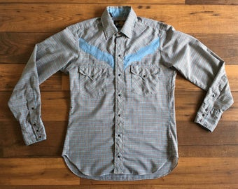 Vintage Men's 80's Kenny Rogers, Western Shirt, Checkered, Button Down, Long Sleeve (S)