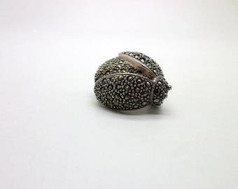Sweet Little Sterling Silver and Marcasite Vintage Lady Bug Pin Brooch