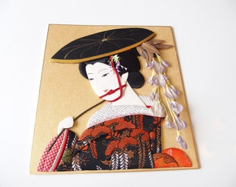 Paper Art Picture Kimono Clad Japanese Beauty Home Decor From Japan