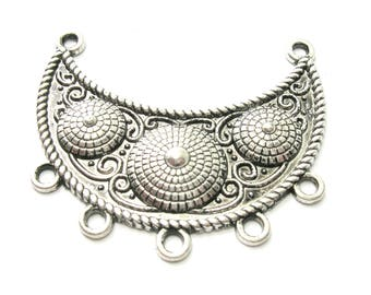 Antique Silver Crescent w/ Mounds Focal Link/Connector (47mm)