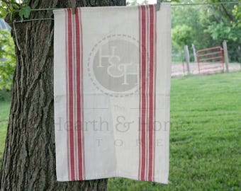 Rustic Red Grainsack Stripe  Cotton Tea Towel, Farmhouse towel, French Inspired Flour Sack Towel, Vintage  Look Towel