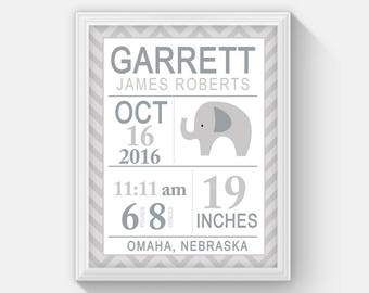 Gray Elephant Modern Birth announcement Baby Birth Stat, Boys Wall Art, Elephant Nursery, Baby Boy Gift