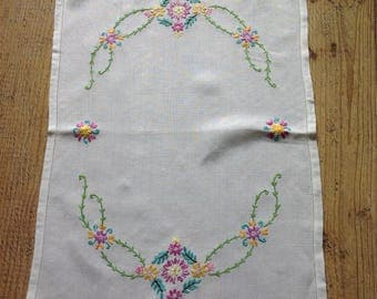 Vintage Embroidered Tray Cloth , Shabby Chic Table Runner , Tea Party Linens