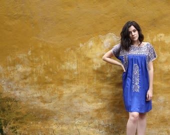 Short Cobalt Blue and antique gold embroidery Mexican Wedding Dress