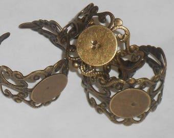 3 supports bagues réglables bronze antique filigrané