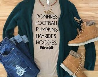 I Love Fall Tees - Bonfires, Football, Pumpkins, Hayrides, and Hoodies