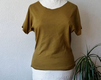 Hippie tshirt alternative boho eco natural dyes mustard yellow tunic earthy psy festival ethical vegan friendly environment dark mori brown