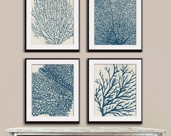Underwater Sea Coral Collection (Series C) Set of 4 - Art Prints (Featured in Denim Blue on Stone Wash)