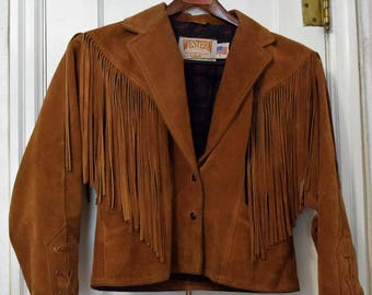 Vintage Schott Suede Leather Fringed Jacket from the 80's