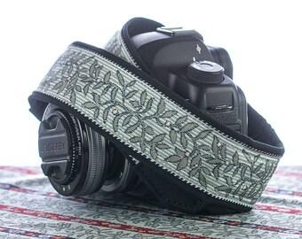 Grey Floral Camera Strap, dSLR, Leaf, Pinstripe, Custom, Photographer Gift, Camera Accessories,  192