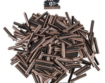 500pcs.  38mm or 1  1/2 inch - Antique Copper No Loop Ribbon Clamp End Crimps - Artisan Series