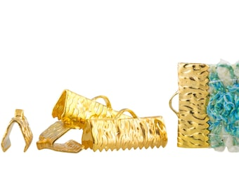500 pieces  16mm  (5/8 inch)  Gold Ribbon Clamp End Crimps - with or without loop - Artisan Series