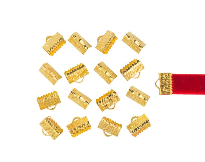 150pcs. 10mm or 3/8 inch Gold Ribbon Clamp End Crimps - with or without loop - Artisan Series