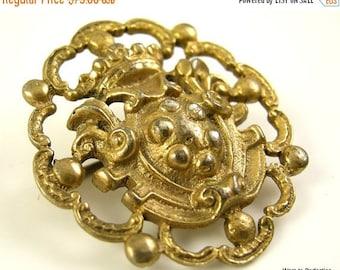 45% off Sale Victorian 800 Silver Gold Wash Crest Brooch