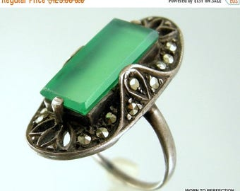 45% off Sale Antique Sterling Silver and Chrysoprase and Marcasite Art Deco Ring 1920s Size 6 1/2