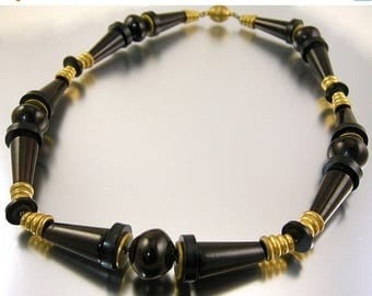 45% off Sale Art Deco Necklace Black and Dark Brown Bakelite and Brass Spacers