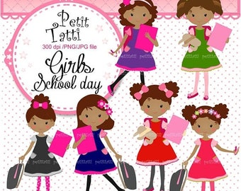 ON SALE Back to school Girl Clip Art _ African American Students Clipart. Classroom Clip Art,School Clip Art,small commercial use,ON Sale