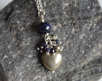 Pyrite and blue goldstone heart necklace, pyrite jewelry, gift for her, mothers day gift, fools gold, valentines day, heart necklace